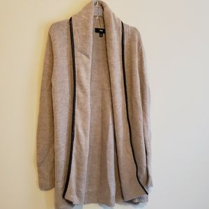 Mossimo faux leather-trimmed sweater coat